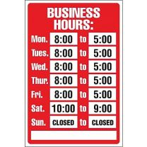 Business Hours Sign Red (Plastic)
